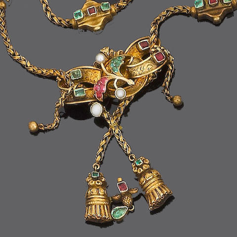 A mid 19th century gold and gem-set necklace,