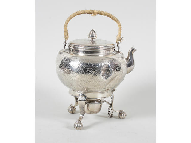 A Victorian silver kettle with stand and burner Maker's mark 'C.F', Sheffield, 1873,