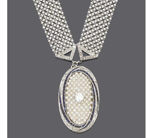 An early 20th century pearl and diamond sautoir,