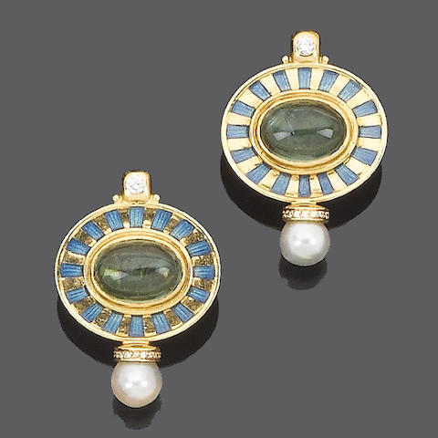 A pair of tourmaline, cultured pearl and diamond earrings, by Elizabeth Gage,