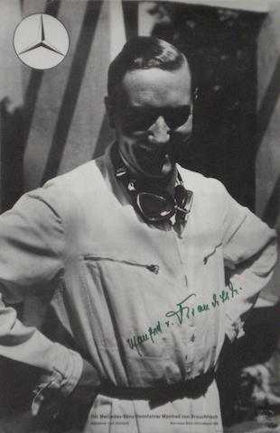 A signed commemorative poster of Manfred von Brauchitsch,