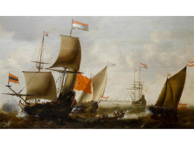 Jacob Adriaensz. Bellevois (Rotterdam 1621-1675) Dutch shipping in choppy seas off the coast of Amsterdam