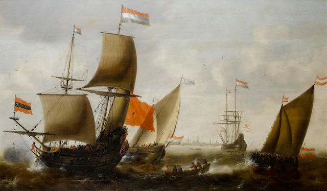 Jacob Adriaensz. Bellevois (Rotterdam 1621-1675) Dutch shipping in choppy seas off the coast of Amsterdam