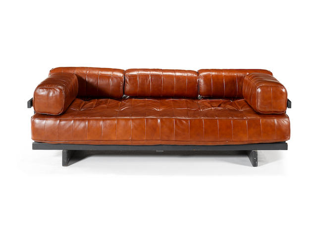 De Sede, a leather daybed, circa 1975 with ebonised wood frame