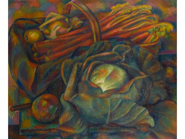 Mark Gertler (British, 1891-1939) Cabbage and Rhubarb (Savoy Green) 63.5 x 76.2 cm. (25 x 30 in.)