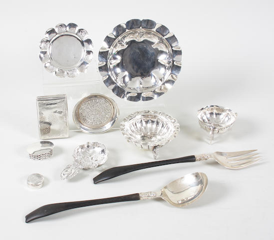 A collection of foreign silver and metalwares  (10)