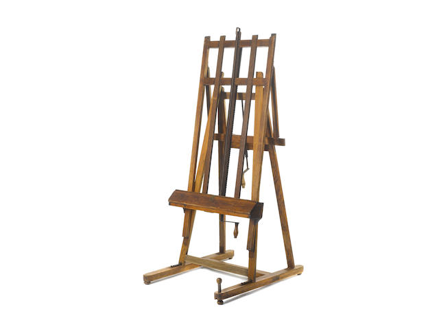 A late 19th Century oak H-frame folding easel, by G.Gent of Bayswater