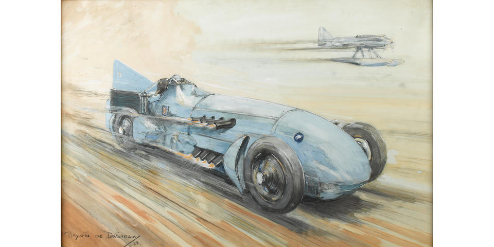 Bryan De Grineau 'Malcolm Campbell Bluebird and Supermarine S6',