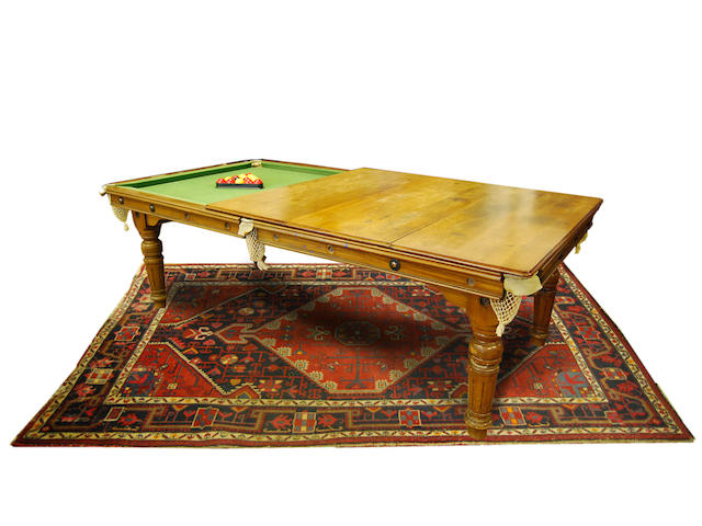 An E. J. Riley 7ft slate bed mahogany-framed snooker and dining table
