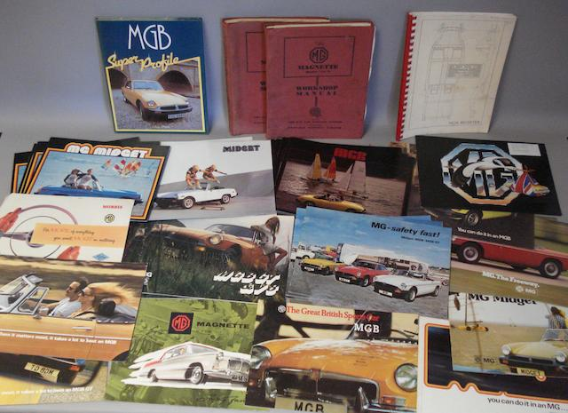 Sales brochures and ephemera for MG cars,