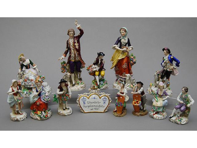 Twelve Sitzendorf figures
