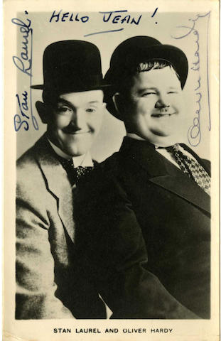 An autographed Laurel & Hardy photograph, 1940s,