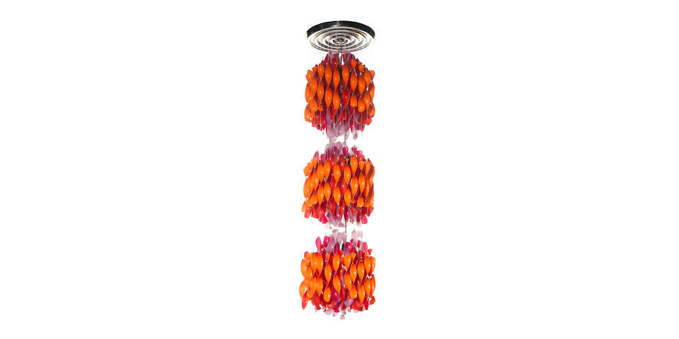 Verner Panton for J. Luber, a 'SP-3' hanging light, designed 1969 composed of cellidor spirals suspe