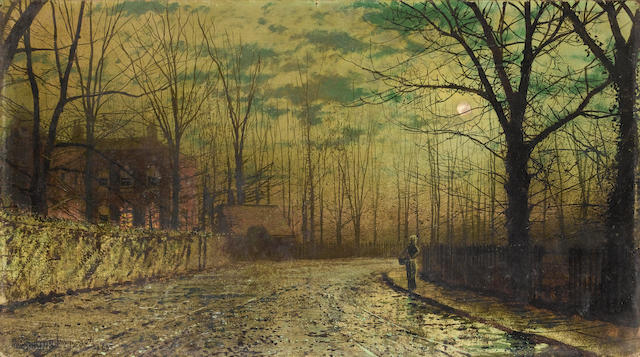 John Atkinson Grimshaw (British, 1836-1893) Figure on a moonlit lane, St. John's Road, Ryde, Isle of