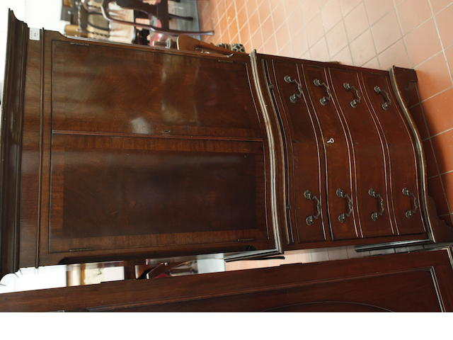 A reproduction mahogany serpentine tallboy,