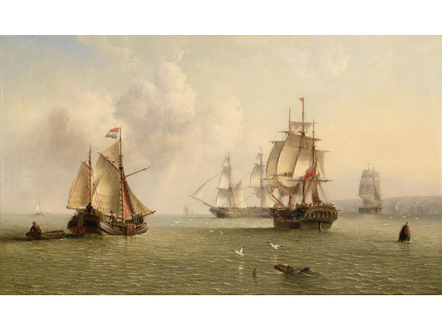 Henry Redmore (British, 1820-1887) Merchantmen going about their trade off the northeast coast of England, with a Dutch hoy further out to sea