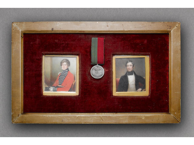 Ghuznee 1839, engraved on reverse (Captn Thos Sealy 2nd Foot). With two portrait miniatures of him, the first in uniform holding shako, the second a later portrait of him wearing civilian waistcoat and tailcoat.