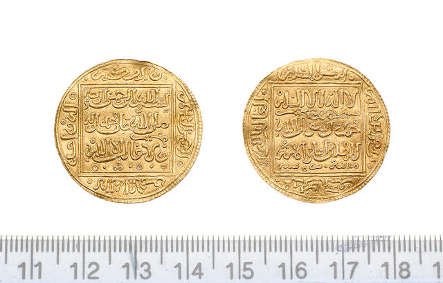 Islamic Spain, Nasrids, Muhammad bin Yusuf, 1237-73, AV Dinar, 4.6g, Madinat Murcia, undated, Album L410 (RRR), also Nusmismata de Ceuta Musulmana, by Juan Jose Rodriguez Lorente, published Madrid 1987, No.224 (this book says only one example known),