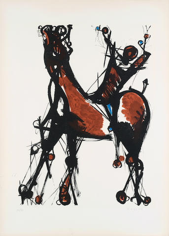 Marino Marini (Italian, 1901-1980) Study for Rider Lithograph, 1976, printed in colours, on Arches,