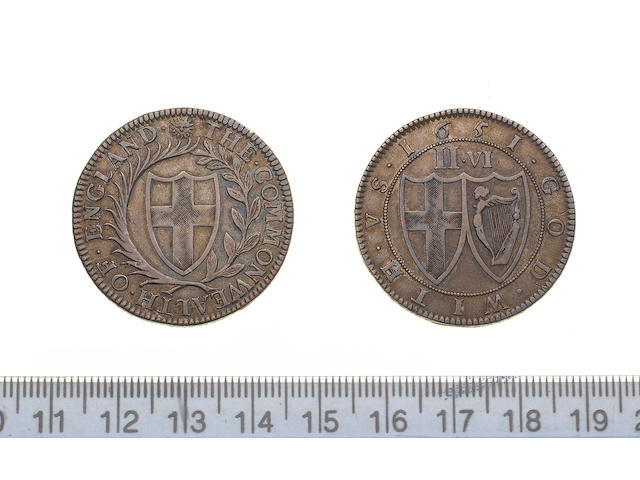 Commonwealth, 1649-60, Pattern Halfcrown, by Blondeau, 1651, 15.2g, shield of St. George within a wreath, THE. COMMONWEALTH. OF. ENGLAND., m.m. sun,