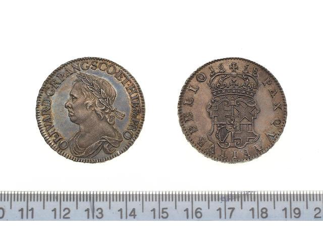 Oliver Cromwell, Halfcrown, 1658, draped bust left, OLIVAR. D. G. RP. ANG. SCO. ET. HIB & PRO,