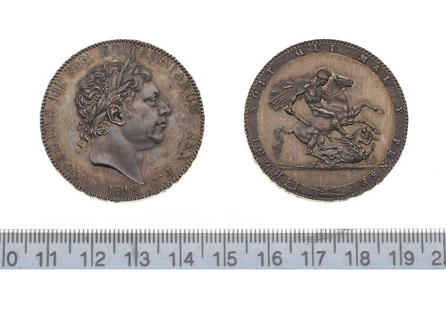 George III, Pattern Crown, 1818, by Pistrucci, large laureate head left, larger date below,