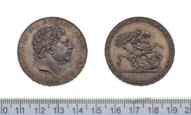George III, Pattern Crown, 1818, by Pistrucci, large laureate head left, larger date below,