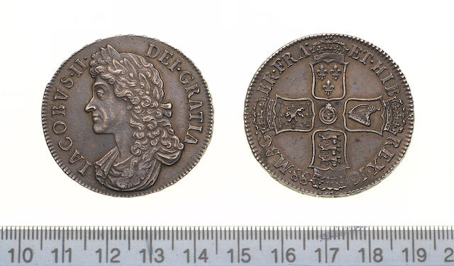 James II, 1685-88, Crown, 1688, second draped bust left,