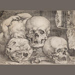 Barthel Beham (German, 1502-1540) Child with three skulls Engraving, 1529, a very good impression, o