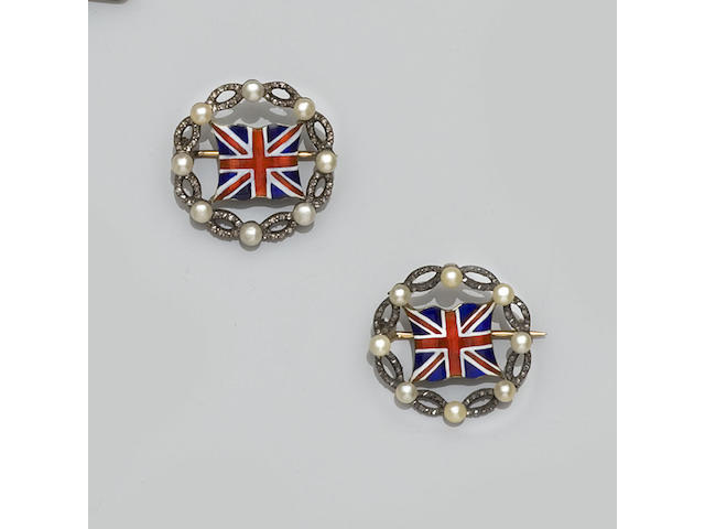 A pair of enamel, pearl and diamond flag brooches