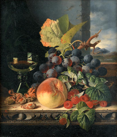 Edward Ladell (British, 1821-1886) Still life with mixed fruit and a glass on a ledge by a window