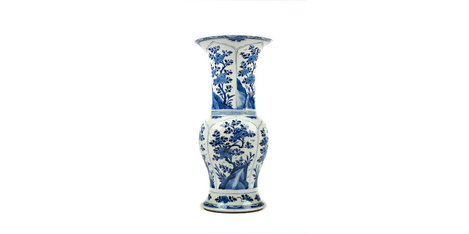 A blue and white yen-yen vase, possibly Kangxi