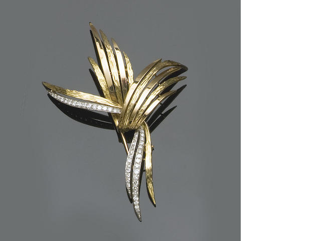 An abstract diamond brooch