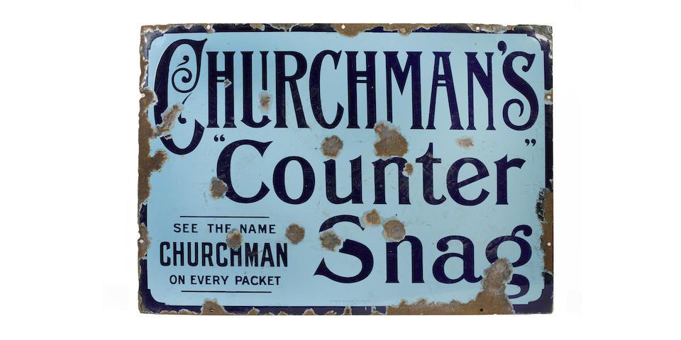 A Churchman Counter Shag enamel sign,