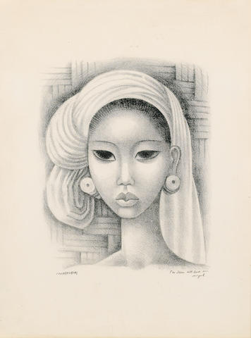 Miguel Covarrubias (Mexican, 1904-1957) Head of a Balinese girl Lithograph, on wove, signed and insc
