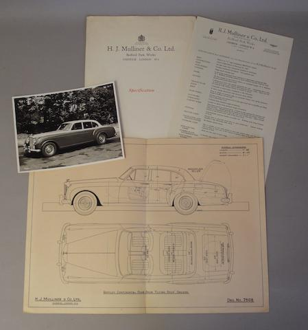 An H.J. Mulliner & Co. Ltd. coachbuilders 'Specification' folder,