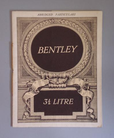 An 'Abridged Particulars' sales brochure for the 'Derby' Bentley 3½ Litre Sports models,