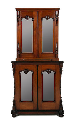 A Louis Philippe and later walnut cabinet of small proportions