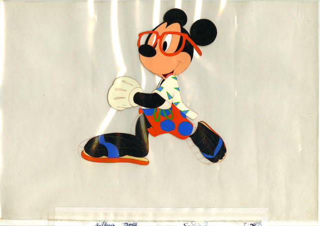 Three Walt Disney studios cels, depicting Mickey Mouse, Minnie Mouse and one other, circa 1980's, 3