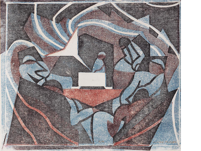 Claude Flight (British, 1881-1955) Gramophone Linocut, c.1932, printed in cobalt blue, crimson and b