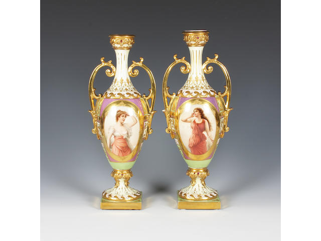 A pair of Vienna style vases Late 19th Century.