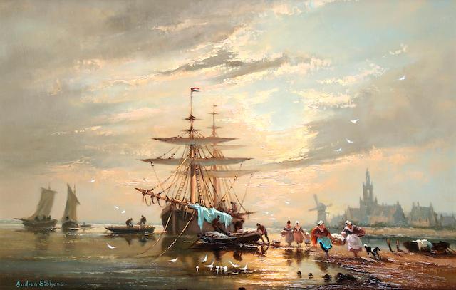 Gudrun Barbara Sibbons (German, born 1925) Unloading beached boats at sunset,