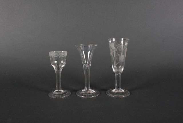 Three plain stem glasses Late 18th Century.