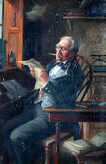 Alexander Austen (British) Gentleman tuning a violin, together with another of a gentleman reading a letter, a pair,