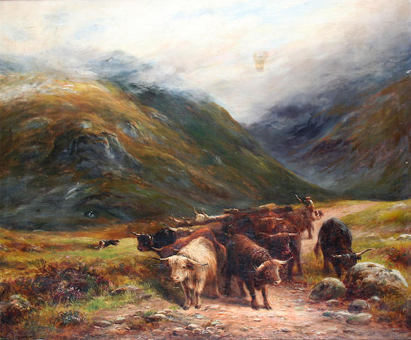 William Lakin Turner (British, 1867-1936) 'A Highland Drove in Glencoe',