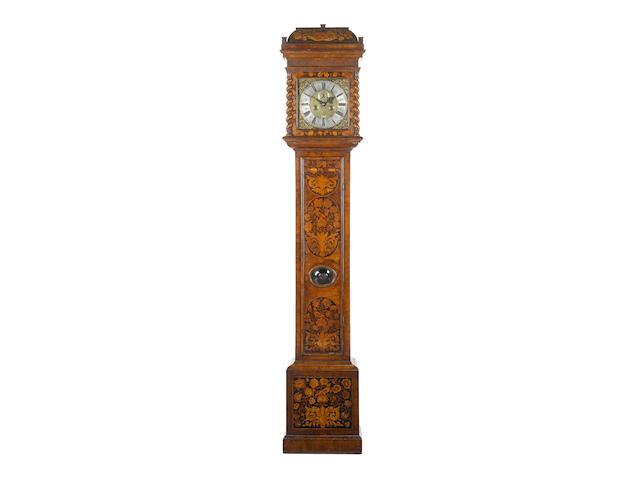 A late 17th century inlaid walnut marquetry longcase clock Windmills, London