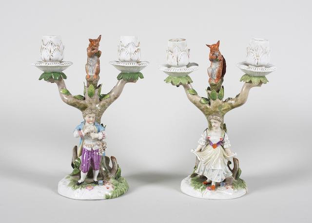 A pair of Dresden figural candelabra Circa 1900.