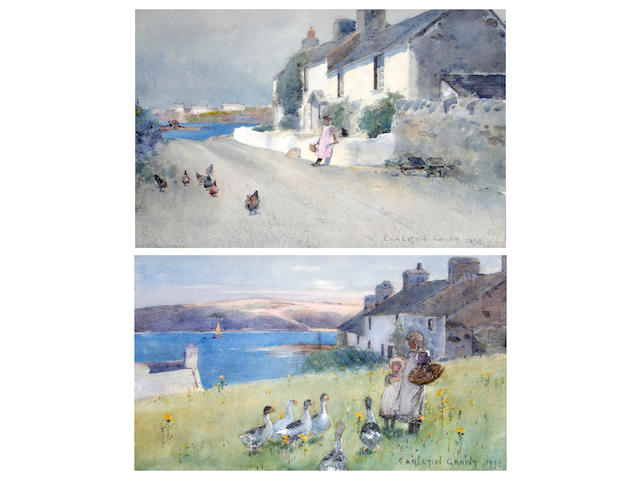Carleton Grant (British, fl.1885-1899) Young girls feeding ducks by a Welsh cottage on the coast, together with another of a girl and chickens before a coastal cottage, a pair,