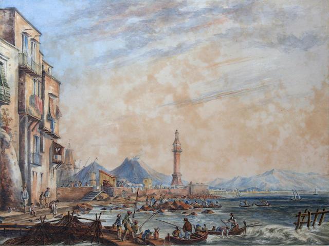 Circle of Gabrielli Carelli (Italian, 1820-1900) The Mole lighthouse, Bay of Naples,