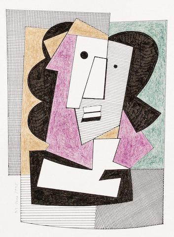 Bryan Ingham (British, 1936-1997) Cubist head study